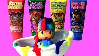 POCOYO na Banheira com a Patrulha Canina Tintas de Banho TOYSBR | Paw Patrol Bath Paint bathtime