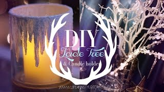 DIY Icicle Branches & Frosted Candle Holders | ANN LE