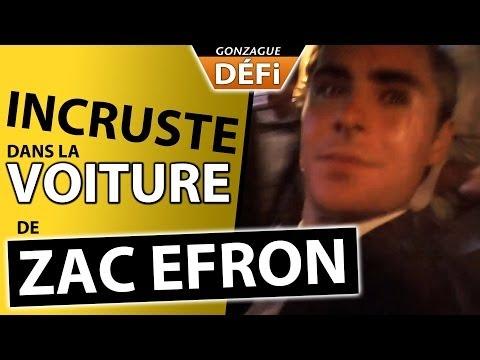 image vidéo ouf, le mec s'incruste dans la voiture de Zac Efron