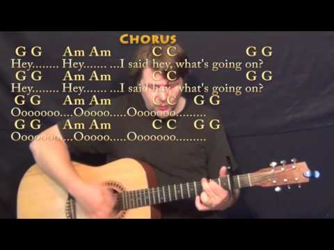 What's Up (4 NON BLONDES) Strum Guitar Cover Lesson with Chords/Lyrics - Capo 2nd
