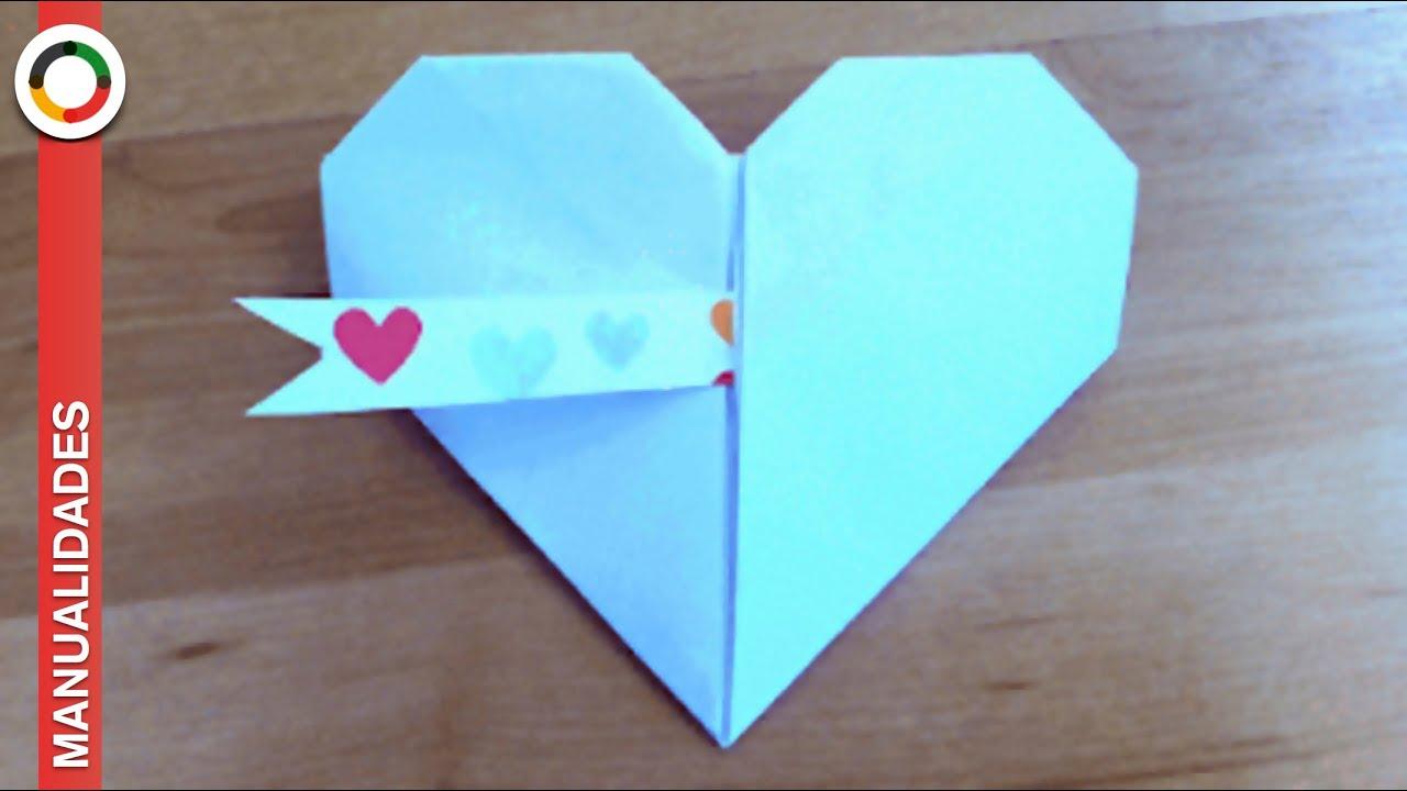 C mo hacer un coraz n de papel muy f cil youtube - Que manualidades puedo hacer ...