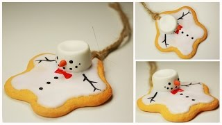 polymer clay Melting Snowman Cookie (ornament) TUTORIAL