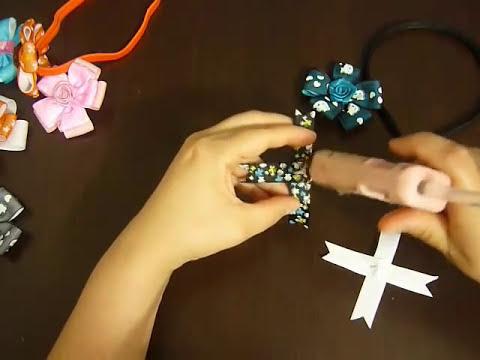 Paso a paso de flores en cintas para el cabello . vídeo No.005.Manualidades la hormiga