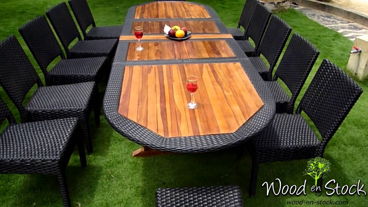 Salon de jardin ensemble table teck r sine et chaises r sine tress e youtube - Cdiscount table et chaise ...