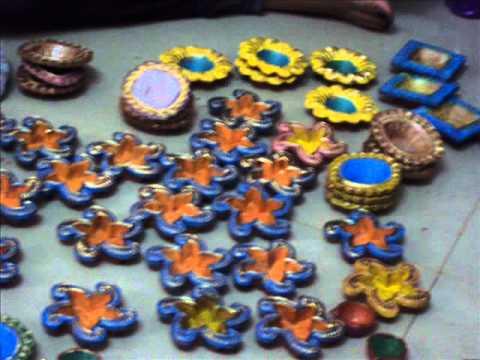 Shilpkruti groups making diwali diya decoration youtube for Diya decoration youtube