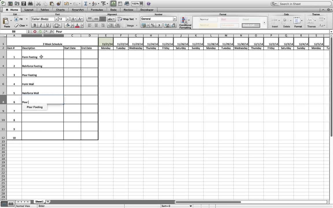 how to build a simple three week rolling schedule in excel