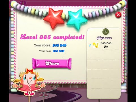 Candy Crush Saga Level 385 ★★ NO BOOSTER
