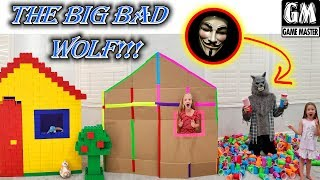 Game Master Disguised as Big Bad Wolf vs Cup Fort Box Fort & Lego Fort!!!