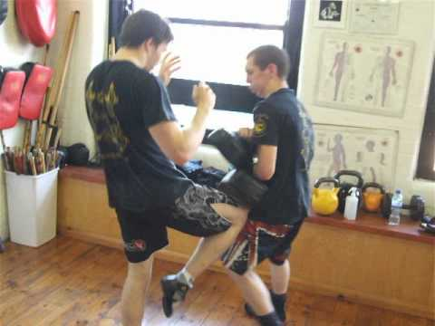 Mauy thai pad knee round, Progressive (JKD) Kickboxing class,Kickfit Nottingham,UK Image 1