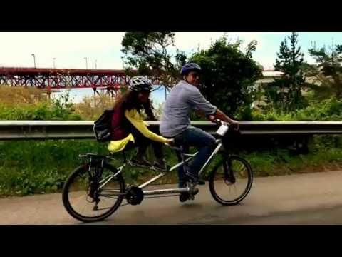 Tandem Cycling at Golden-gate bridge to Sausalito (slo-mo)