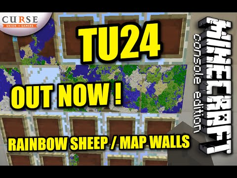 Minecraft PS4 - TU24 UPDATE OUT NOW - RAINBOW SHEEP / WALL MAPS
