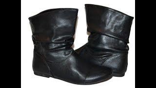 Flat Black Leather Ankle Boots