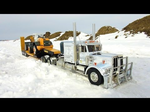 RC ADVENTURES - Chrome King Hauler & Liebherr Loader on Triple Axle Trailer with Dump Truck