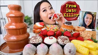 Chocolate Fountain! DONUTS + STRAWBERRY MOCHI + CUPCAKES DESSERT MUKBANG 먹방 | Eating Show