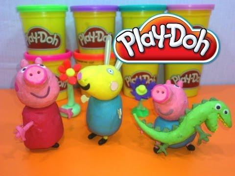 PLAY-DOH PEPPA PIG.GEORGE Y REBECA.PEPPA PIG EN PLASTILINA.MANUALIDADES EN PLASTELINA.