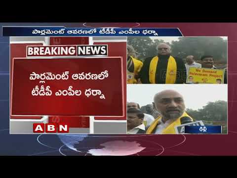 TDP and YCP MPs holds Protest at Parliament, Demands Special Status for AP | ABN Telugu