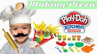 Making Pizza with Play Doh Kitchen Creations Pizza Party Play Set