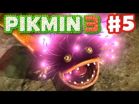 Pikmin 3 - Day 5 - Vehemoth Phosbat Boss Fight! (Nintendo Wii U Gameplay Walkthrough)