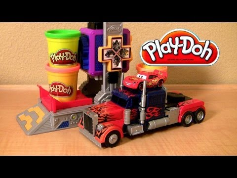Play Doh Transformers Autobot Workshop Playset Transform Lightning Mcqueen In Autobots Disney Cars video