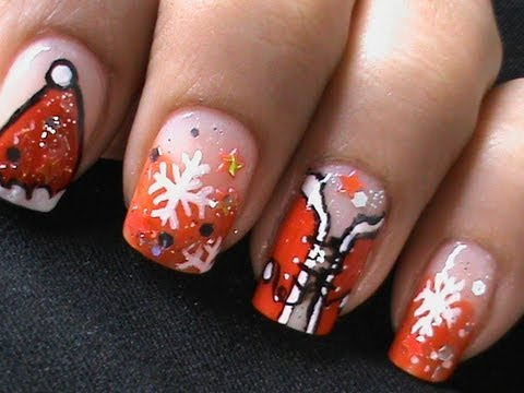 Sexy Santa Girls Christmas Nail Art Tutorial Easy Nail Polish Designs Long / Short Nails Cute