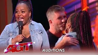 Jackie Fabulous: Comedian Earns a KISS From Simon Cowell But...| America's Got Talent 2019