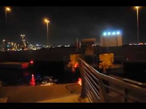 Dubai Floating Bridge working at night