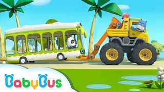 Monster Truck Rescue Bus   Vehicle  Song for Kids   Nursery Rhymes   Baby Songs   BabyBus
