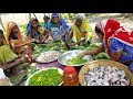 Fishing & Cooking - Mixed Carp Fish & Vegetables Curry Prepared By Women & Fish Catching By Men thumbnail