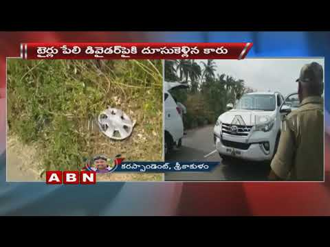 Exclusive Visuals | Minister Somireddy Chandramohan Reddy Escapes from Road Mishap | ABN Telugu