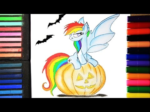 DIY My Little Pony Coloring Book Arts for kids How to color Rainbow Dash Halloween Edition Pastel