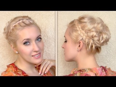 Braided curly updo hairstyle for medium long hair - Fonott fejtetőre fésült frizura