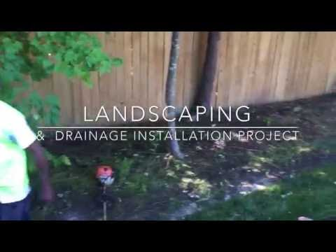Landscaping & drainage installation project. Virginia Beach