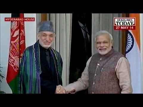 Modi meets the Afghan leader Karzai and his delegation