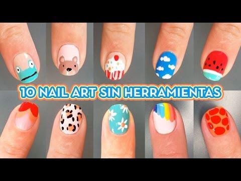 10 DISEÑOS DE UÑAS SIN HERRAMIENTAS -  IDEAS DE NAIL ART FÁCIL