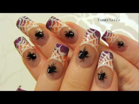 Spiderweb on Purple and Orange Glitter Halloween Design Nail Art Tutorial