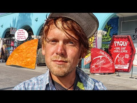 PAYING PEOPLE TO EAT WORLD'S HOTTEST CHIP!   #OneChipChallenge Venice Beach