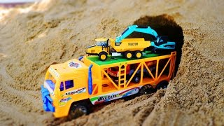 รถก่อสร้างทำอุโมงค์ รถแม็คโคร รถดั้ม รถบรรทุก รถตัก  Excavator and truck