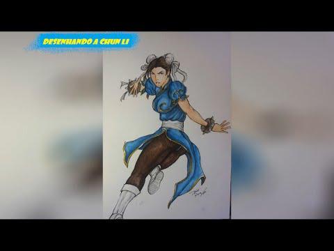 Aquarela || Desenhando a Chun Li - Drawing Chun Li (Watercolor Speed Painting)