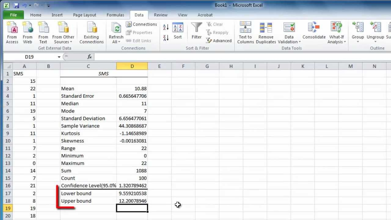 How To Work With Excel Confidence Intervals Youtube