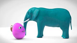 Learn Colors with 3D Elephant and Surprise Eggs For Kids - Learn Colours With Animals Kids Videos