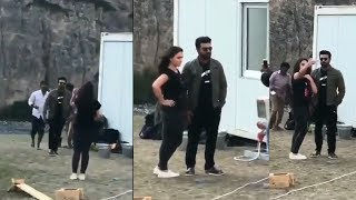 #RC12 Sets | MegaPower Star Ram Charan Selfie with Beautiful Young Lady | Ram Charan | Filmylooks