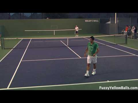 Fernando Verdasco Serves from the Back Perspective in HD Video