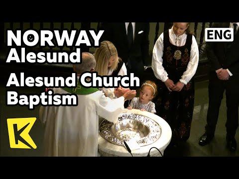 【K】Norway Travel-Alesund[노르웨이 여행-올레순]올레순 교회의 세례식/Fresco/Stainedglass/Lutheran/Baptism/Worship