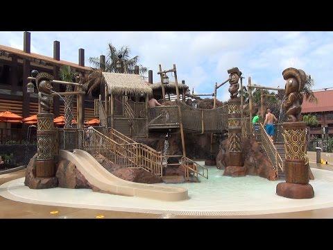 Disney's Polynesian Village Kiki Tikis Splash Play Kids Area Tour & Trader Sam's Tiki Terrace