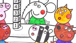Peppa with Friends at School Coloring Book Pages - Learn Colors for Kids