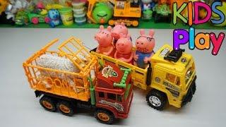 Đồ chơi trẻ em - Xe oto chở thú bị hỏng, gia đình Peppa Pig giúp đỡ Toys for kids