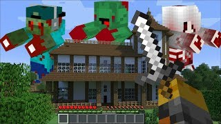 GIANT FRIENDLY ZOMBIES APPEAR IN MY HOUSE IN MINECRAFT !! SAVE THE VILLAGE !! Minecraft Mods