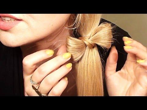 COLETA DE LADO CON UN LAZO o moñito peinado para pelo largo y mediano