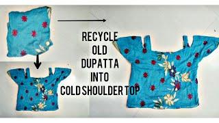 Recyle Old Dupatta Into Cold Shoulder Top ~
