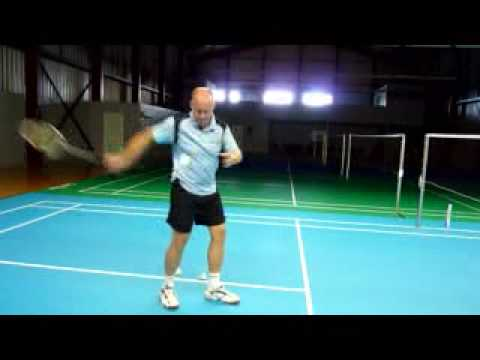 Example of high serve in badminton.